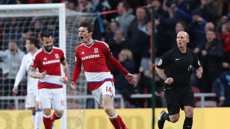 Marten de Roon celebrates after scoring for Middlesbrough against Sunderland