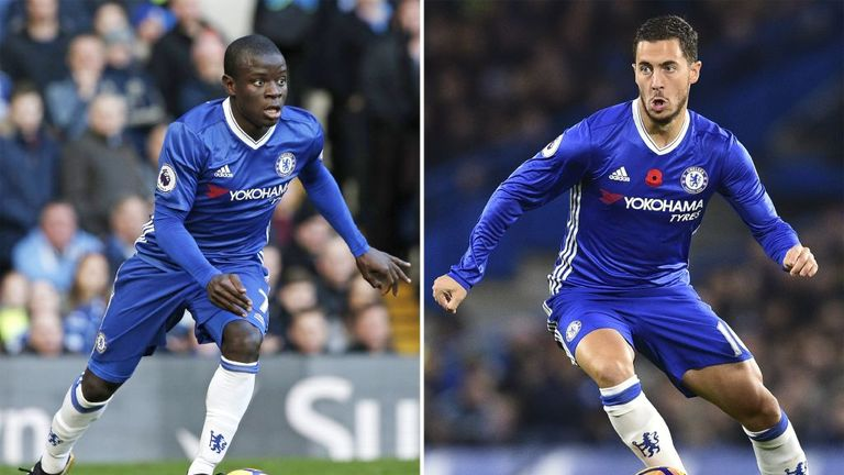 Chelsea duo N'Golo Kante (L) and Eden Hazard (R) finished second and third respectively