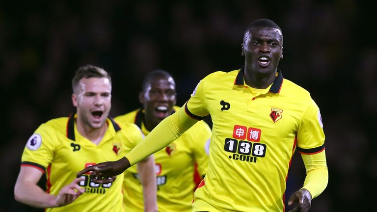 Niang celebrates after putting Watford ahead in the first half