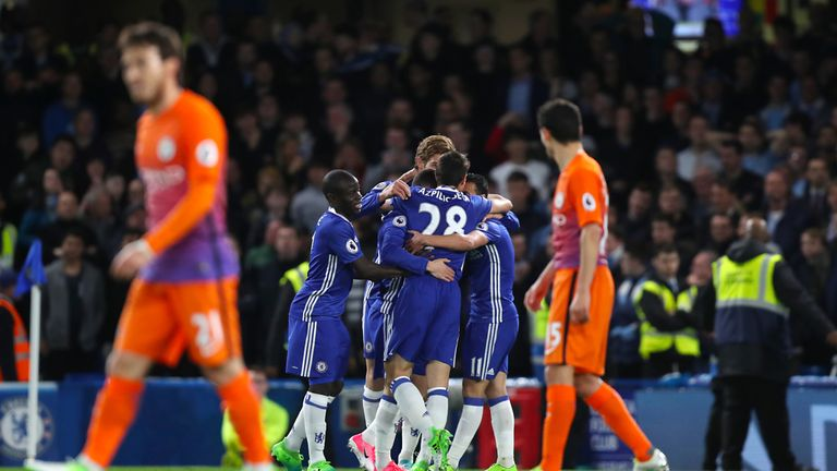 Chelsea celebrate Hazard's second at Stamford Bridge