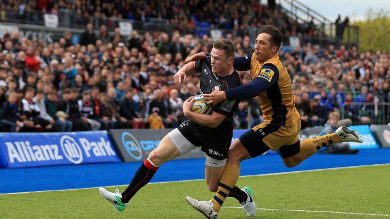 Chris Ashton is tackled by Bristol's Gavin Henson before having a try disallowed