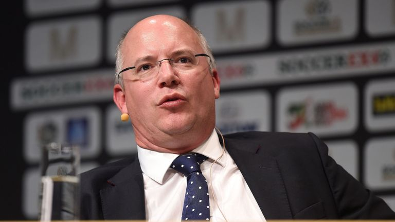 Shaun Harvey, CEO of The Football League, speaks during day two of the SoccerEX Convention at the Manchester Central Convention Complex, Manchester.