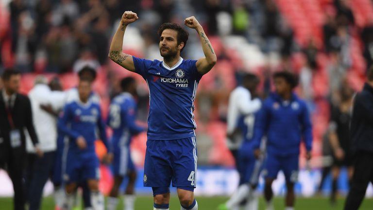 Cesc Fabregas celebrates after Chelsea's FA Cup win over Tottenham
