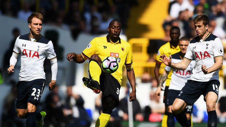 Watford's Stefano Okaka controls the ball