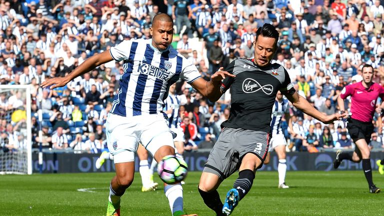 Salomon Rondon and Maya Yoshida compete for the ball at the Hawthorns