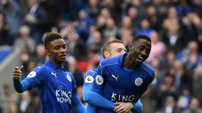 Leicester City midfielder Wilfred Ndidi celebrates after opening the scoring against Stoke