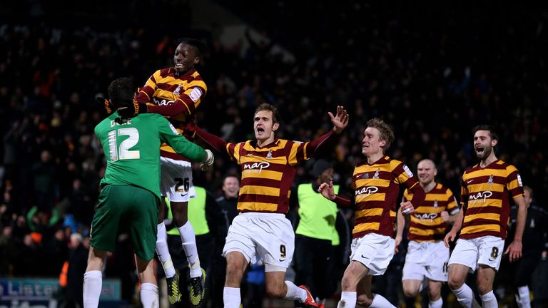 Bradford defeated Arsenal on penalties in the League Cup after a 1-1 draw, despite being 65 places below the Gunners in the league pyramid