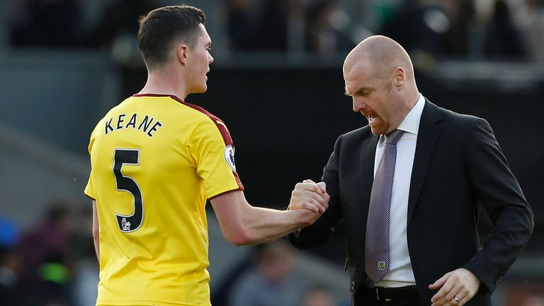Keane, pictured alongside manager Sean Dyche, featured 39 times in all competitions for Burnley last season