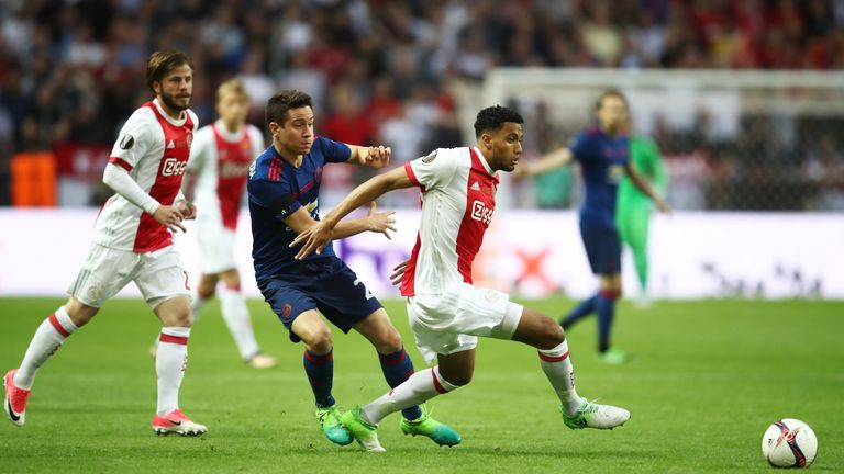 Riedewald featured for Ajax against Manchester United in the final of the Europa League last season