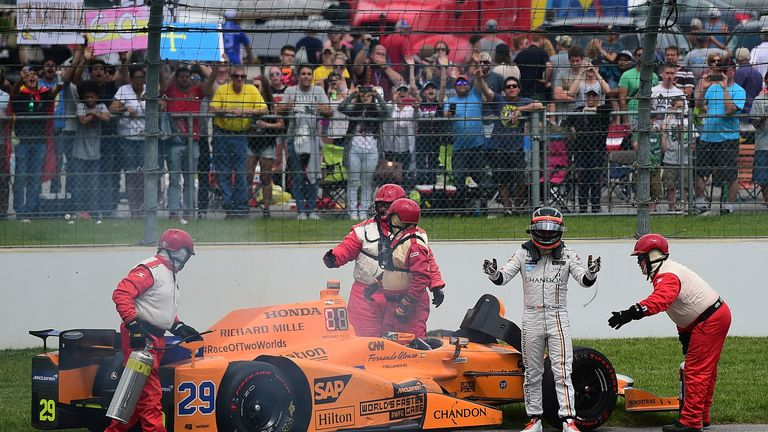 Fernando Alonso's race ended with an engine failure