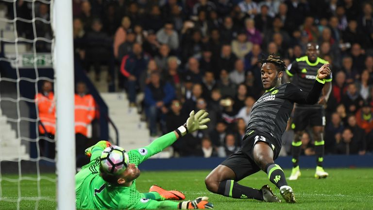 Michy Batshuayi slides in to seal the goal that sealed the Premier League title for Chelsea