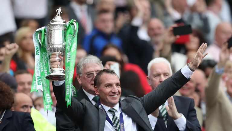 Rodgers won the treble in 2016/17, his first season as Celtic manager