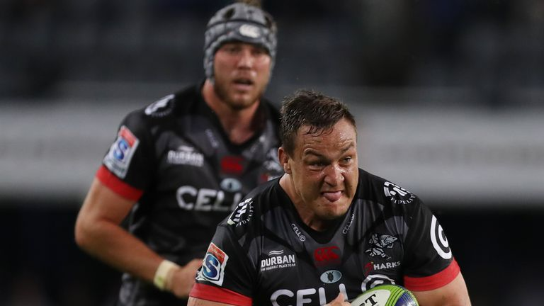 Coenie Oosthuizen carries for the Sharks