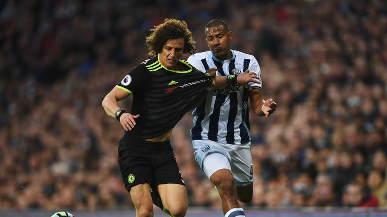 David Luiz and Salomon Rondon battle for the ball during a goalless first half
