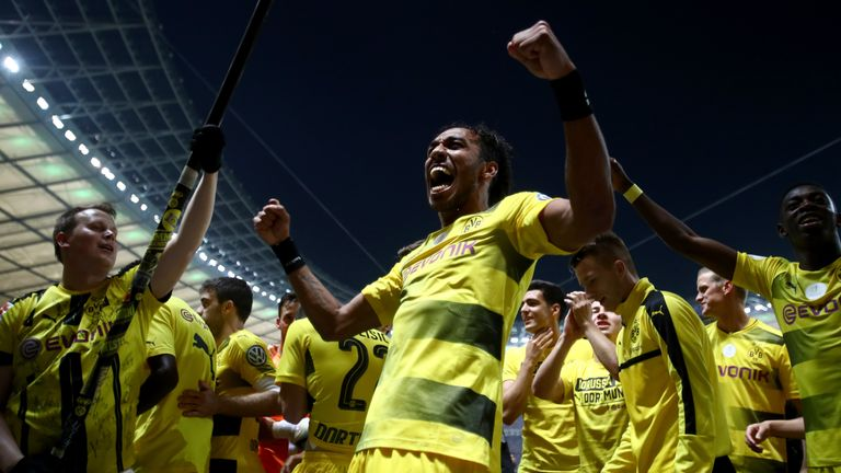 Pierre-Emerick Aubameyang celebrates after Dortmund's German Cup final win