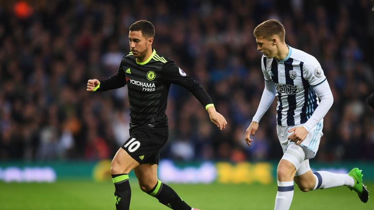 Eden Hazard takes on Sam Field in the early stages at The Hawthorns