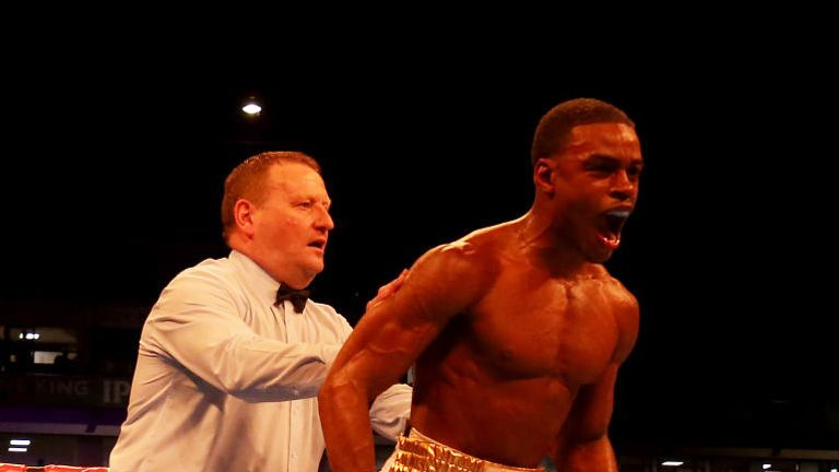 Errol Spence Jr reacts after knocking down Kell Brook in their IBF Welterweight World Championship contest