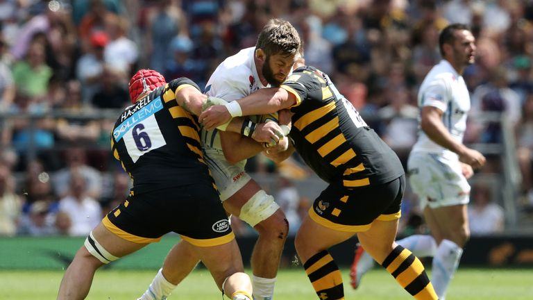 Geoff Parling is tackled by James Haskell and Phil Swainston
