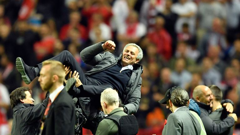 Mourinho celebrates at the end of the Europa League final victory over Ajax