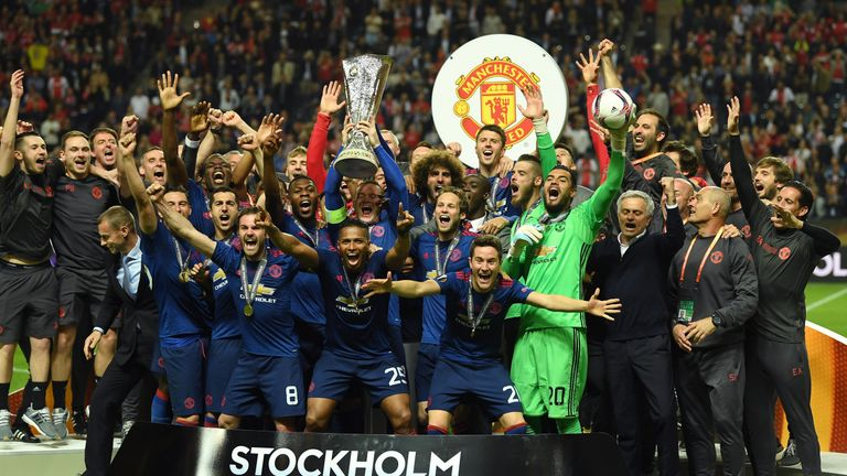 United captain Rooney lifted the trophy at the end of the game