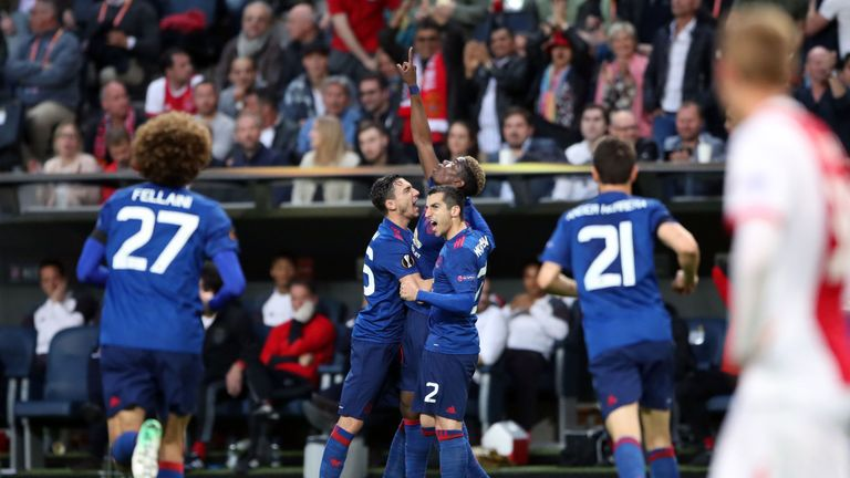 Manchester United's Paul Pogba celebrates scoring his side's first goal