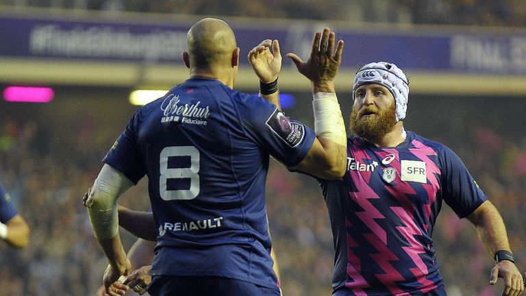 Remi Bonfils (right) congratulates Sergio Parisse after the No 8 scored Stade's first try