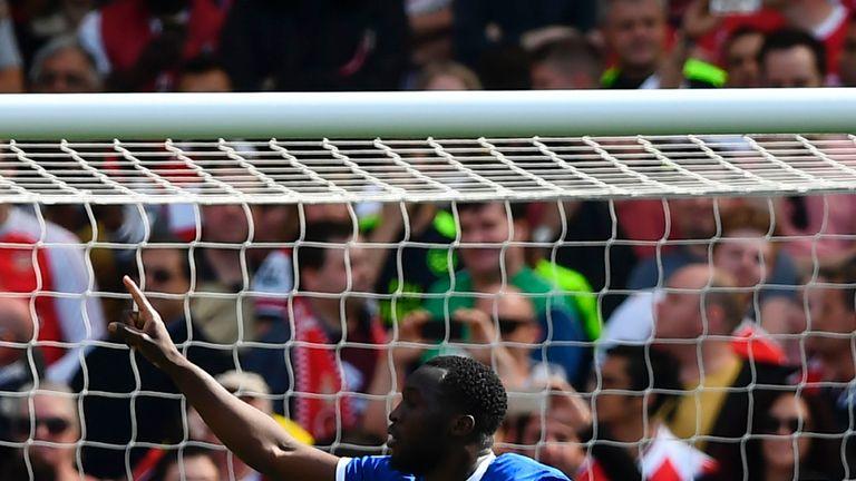 Romelu Lukaku celebrates his 25th goal of the season