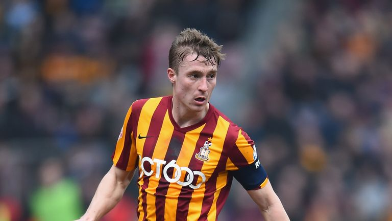 BRADFORD, ENGLAND - FEBRUARY 15: Stephen Darby of Bradford City in action during the FA Cup Fifth Round match between Bradford City and Sunderland at Coral