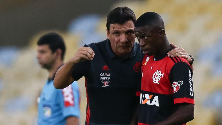 Vinicius with Flamengo head coach Ze Roberto