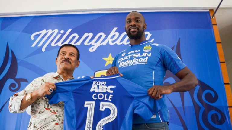Former West Ham United and Chelsea striker Cole moved to Indonesia in March, playing alongside Michael Essien