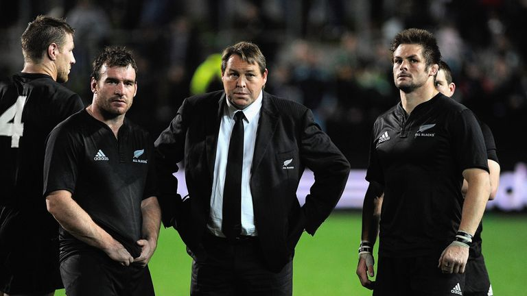 The All Blacks, along with then-assistant coach Steve Hansen, show their dejection after losing to the Springboks in Hamilton in September 2009