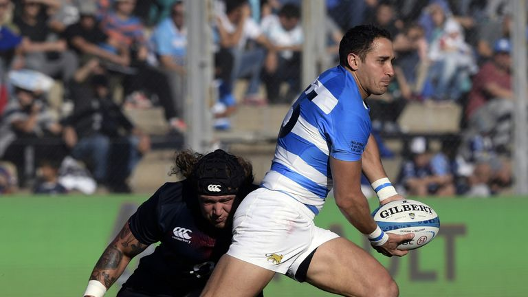 Fullback Joaquin Tuculet on the attack for Argentina