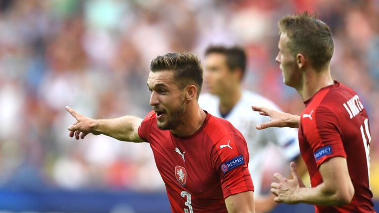 Marek Havlik celebrates scoring for Czech Republic