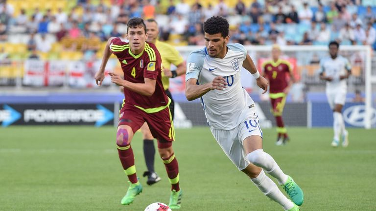 England forward Dominic Solanke moves with the ball