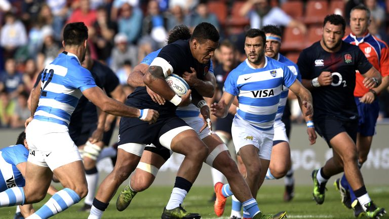 Nathan Hughes on the charge for England