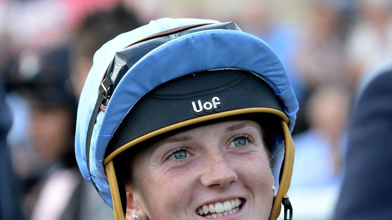 Jockey Hollie Doyle in the parade ring