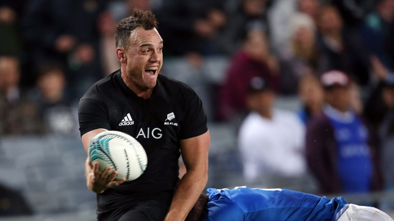 New Zealand's Israel Dagg looks to offload the ball against Samoa