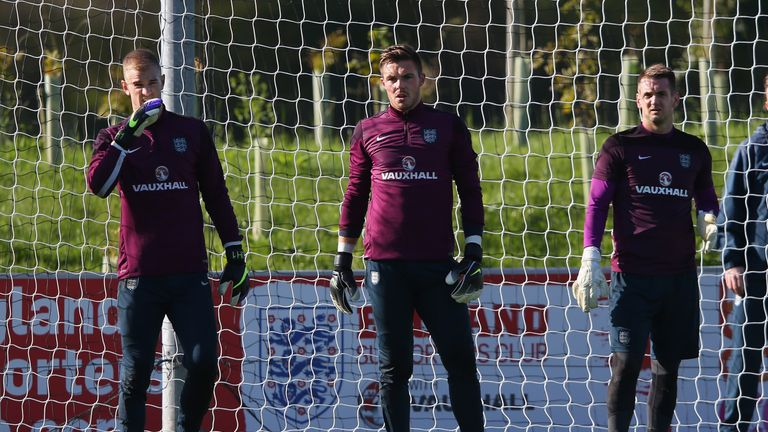 Joe Hart, Jack Butland and Tom Heaton (L-R) during an England training session