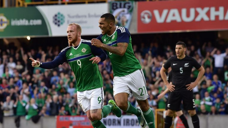 Boyce (L) also scored for Northern Ireland against New Zealand in a recent friendly