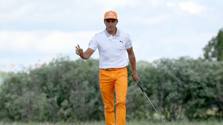 Rickie Fowler in action at Erin Hills