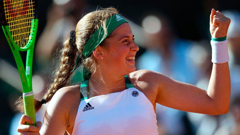 Latvia's Jelena Ostapenko celebrates beating Timea Bacsinszky