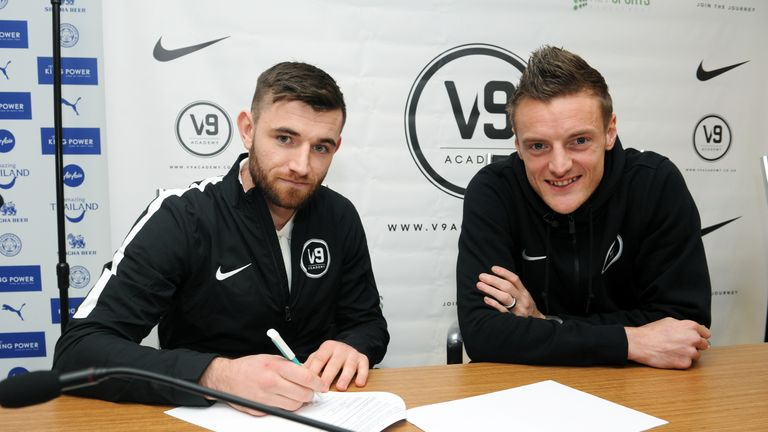 Danny Newton (left) signed to participate in Jamie Vardy's V9 Academy in November last year