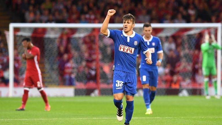 Siroki Brijeg's Stipo Markovic celebrates his goal to make it 1-1