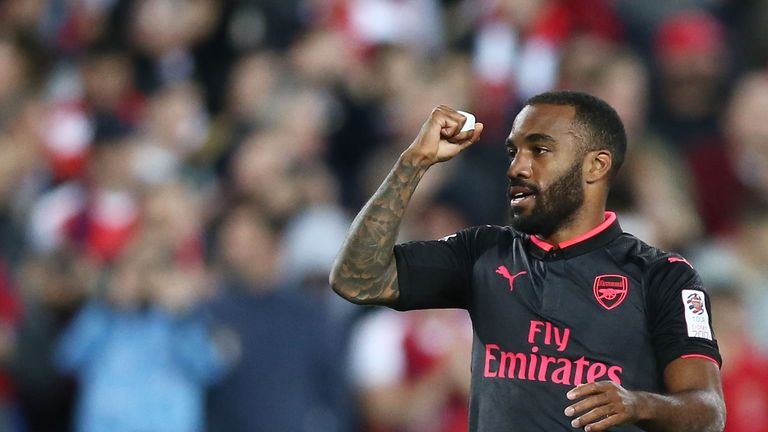 Alexandre Lacazette celebrates scoring on his first Arsenal appearance during a pre-season friendly against Sydney
