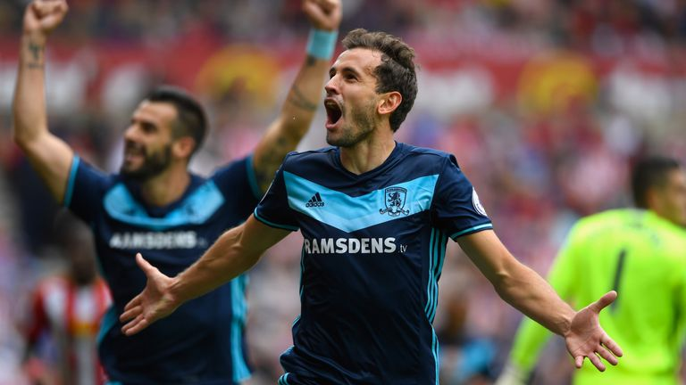 Stuani celebrates scoring against derby rivals Sunderland