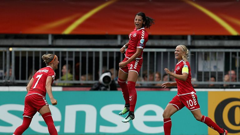 Nadia Nadim celebrating her goal against Germany