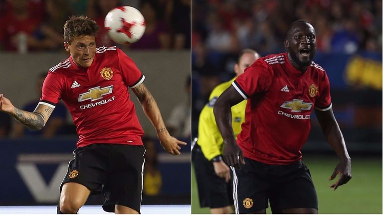 Victor Lindelof (left) and Romelu Lukaku (right) made their first appearances for Man Utd against LA Galaxy