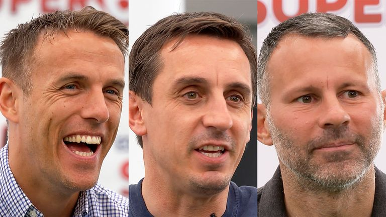 Phil Neville (left), Gary Neville (centre) and Ryan Giggs (right) are all part-owners of Salford City along with Peter Lim, Nicky Butt and Paul Scholes