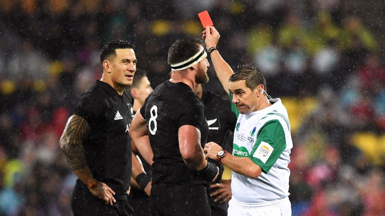 Sonny Bill Williams was sent off during the All Blacks' loss to the Lions in last summer's second Test
