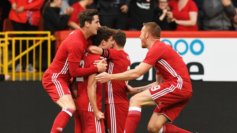 Aberdeen players surround Ryan Christie in celebration of the opening goal